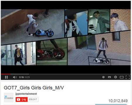 「GOT7」、デビュー曲「Girls Girls Girls」MVがYouTubeで1000万ビュー突破