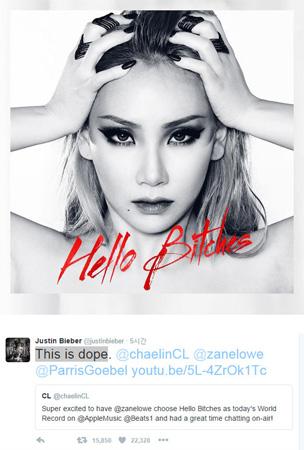 ジャスティン・ビーバーもCL(2NE1)を応援! 「『HELLO BITCHES』最高だ」