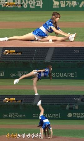 ソンソ(宇宙少女)、180度開脚姿勢で靴紐結ぶ…柔軟性に視線集中=「明日は始球王」