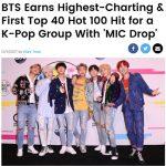 """「防弾少年団」の「MIC Drop」、米ビルボード「HOT100」28位にランクイン! """"K-POP最高記録"""""""