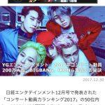 BIGBANG、2017年日本公演で圧倒的な観客動員力…YGの観客動員力の高さに注目