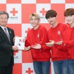2018年新春公演中の大人気新人グループ『14U(ワンフォーユー)』が日本赤十字 社に寄付!!