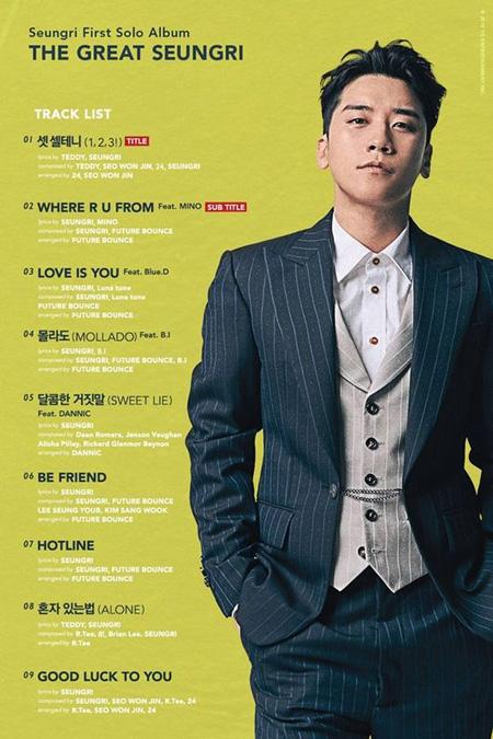 「BIGBANG」V.I、ソロアルバムのトラックリスト公開! =MINO(WINNER)&B.I(iKON)がフィーチャリング