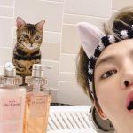 """キム・ジェジュン、猫耳のヘヤバンドとお気に入りのmixim Perfumeを背景に…""""ねねにめっちゃ見られてる"""""""