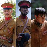 映画「鳳梧洞戦闘」に出演した日本人俳優が扮した日本軍3人組スチール