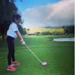 サランちゃん、すでにママ、SHIHO譲りの最高のスタイル!パパと一緒の楽しい日常公開、ゴルフの腕前は?