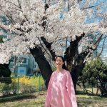 """<トレンドブログ>""""花より美しいね""""…オ・ヨンソ、桜の花の前で女神のような笑顔満開"""