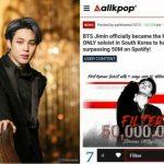 "「BTS(防弾少年団)」ジミン、ソロ曲4曲すべてが""Spotify""で5000万突破…K-POP初記録"