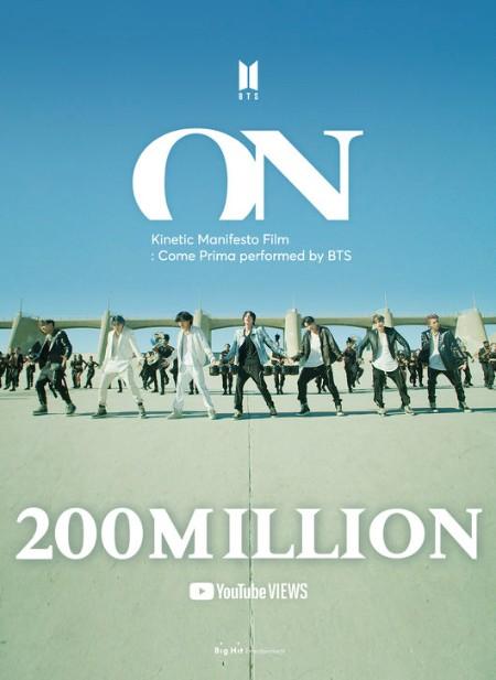 「BTS(防弾少年団)」、「ON」Kinetic Manifesto Film2億回突破…4か月で新記録更新
