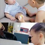 """ミンファン&ユルヒの息子ジェユルくん、妹を笑わせるのに必死!?溢れる""""オッパ美""""が微笑ましい"""